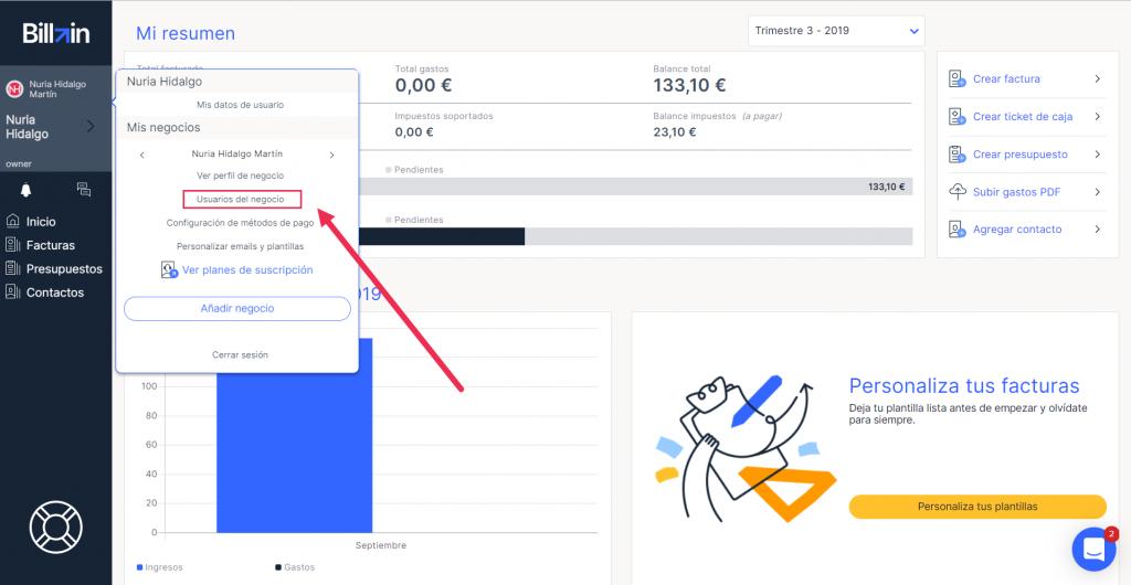 Cómo crear un usuario de negocio en Billin